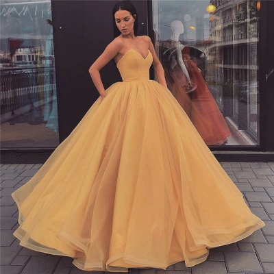 Fabulous Sweetheart Ball Gown Prom Dresses | Simple Floor Length Evening Dresses_1