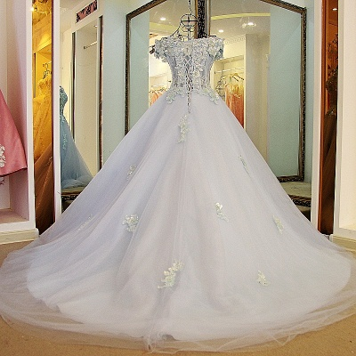Cap Sleeves Sweep Train Tulle Appliques Quinceanera Dresses_2