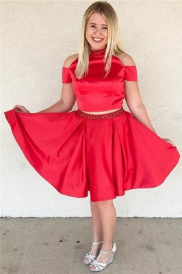 Stylish Two-Pieces Beading Knee-Length Dama Dress_1