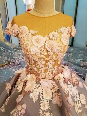 Vestidos de quincea_era Manga corta | la vendimia con flores apliques de tul para la bola_3