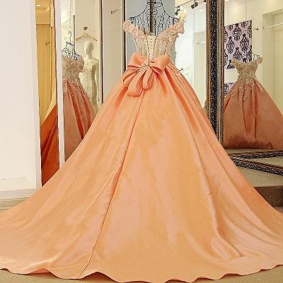 Elegante vestido de quincea_era con appliques | sin mangas con flores de novia_2