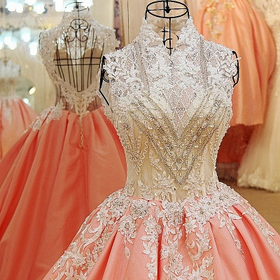 High Neck Sleeveless Appliqued Open Back Quinceanera Dresses_3