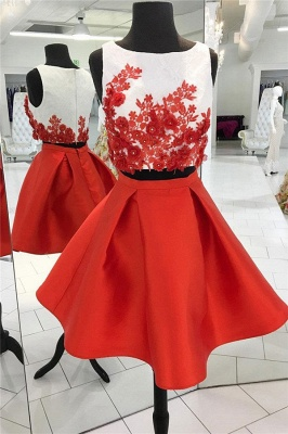 Two-Pieces Red Flowers Jewel Sleeveless Dama Dress_1