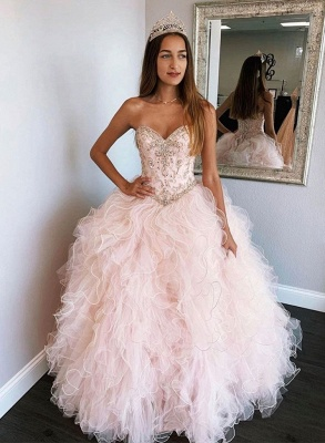 Beautiful Sweetheart Beadings Ball Gown Quinceanera Dresses | Ruffles 16 Dresses Long_2