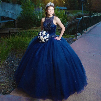 Attractive Ink Blue Jewel Beadings Sleeveless Sweet 16 Dresses | Ball Gown Quince Dresses Long_1