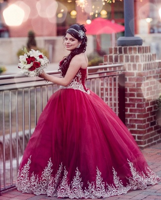 Beautiful Red Sweetheart Sleeveless Ball Gown Quinceanera Dresses | Appliques 16 Dresses Long_3