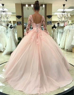 Fascinating Pink V-neck Appliques Ball Gown Quinceanera Dresses | Long-Sleeves 15 Dresses Long_2
