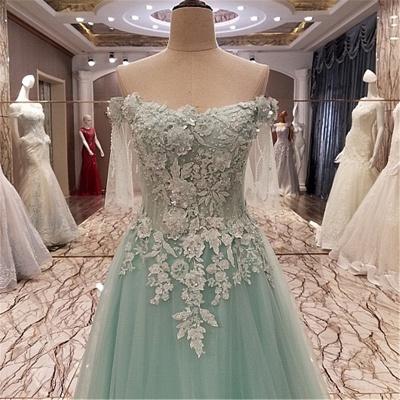Elegant Lace-up Appliqued Tulle Floor Length Quinceanera Dresses_4