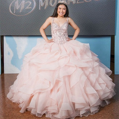 Marvelous V-neck Ball-Gown Beadings Sweet 16 Dresses | Quinceanera Dresses Long_1