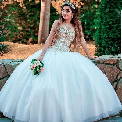 Apliques atractivos de novia sin mangas Sweet 16 vestidos | Listones vestido de fiesta vestidos de membrillo largos_1