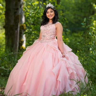 Fascinating Pink Jewel Ruffles Ball Gown Quinceanera Dresses | Beadings 15 Dresses Long_1