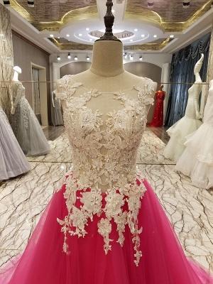 Apliques de encaje Vestidos de quincea_era | Longitud del piso sin mangas Tren largo Tul_3