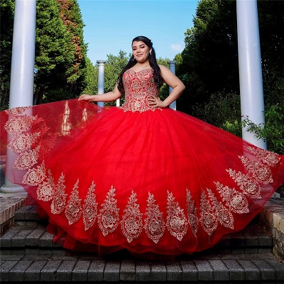 Exquisite Red Sweetheart Appliques Ball Gown Quinceanera Dresses | Sleeveless Sweet 16 Dresses Long_1