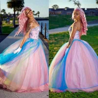 Exquisito colorido vestido de fiesta sin tirantes vestidos de quinceañera | Listones cariño dulce 16 vestidos largos_1