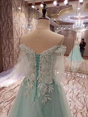 Elegant Lace-up Appliqued Tulle Floor Length Quinceanera Dresses_3