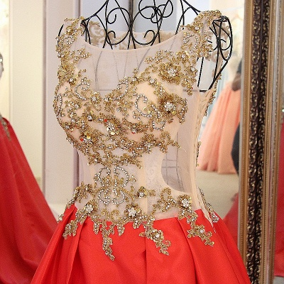 Sequins Beading Sleeveless Red Long Quinceanera Dresses_4