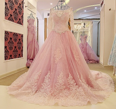 Illusion Tulle Long-Sleeves Chapel Train Quinceanera Dress_1