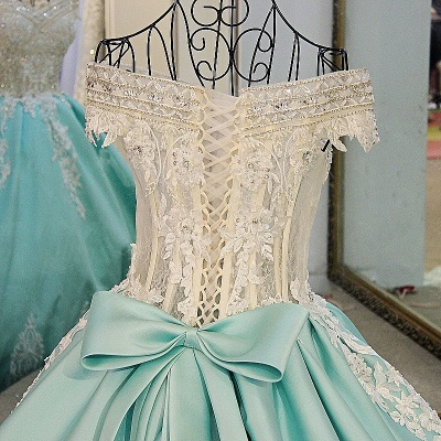 Appliqued Off-the-shoulder Long Ball Gown Quinceanera Dresses_4