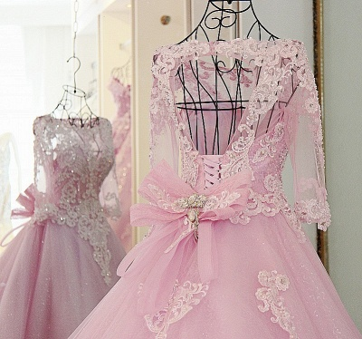 Stylish Appliques Long-Sleeves Quinceanera Dress_4