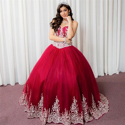 Beautiful Red Sweetheart Sleeveless Ball Gown Quinceanera Dresses | Appliques 16 Dresses Long_5