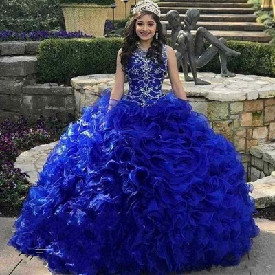 Gorgeous Royal Blue Jewel Sleeveless Beadings Quinceanera Dresses | Tulle Ruffles Ball Gown XV Dresses_1