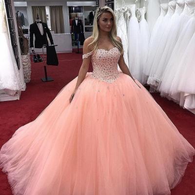 En color rosa con hombros descubiertos Dulce 16 vestidos | Listones de quincea_era vestidos largos Vestido Maravilloso_1