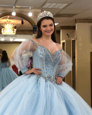 Attractive Off-the-shoulder Beadings Sweet 16 Dresses | Illusion Long-Sleeves Ball Gown Quince Dresses Long_4