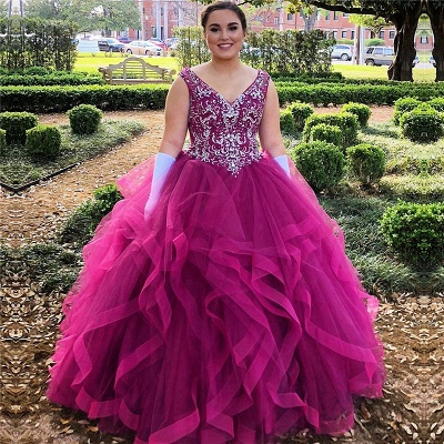 Marvelous V-neck Beadings Ball Gown Sweet 16 Dresses | Ruffles Quinceanera Dresses Long_1