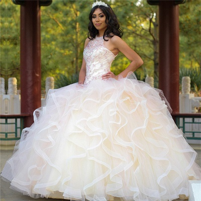 Gorgeous Jewel Sleeveless Beadings Ruffles Quinceanera Dresses | Tulle Ball Gown XV Dresses_1