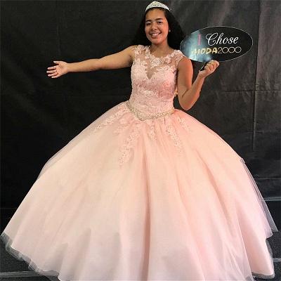 Maravilloso joya rosa sin mangas apliques 15 vestidos | Bonitos listones de quincea_era vestidos largos_1