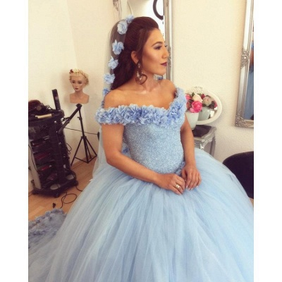 Excellent Blue Off-the-shoulder Ball Gown Quince Dresses | Shining Bodice XV Dresses Long_2