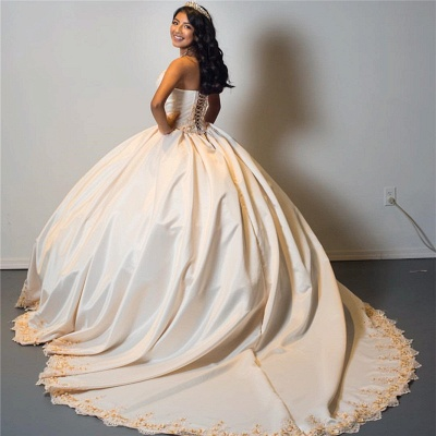 Attractive Strapless Sweetheart Sweet 16 Dresses | Appliques Ball Gown Quince Dresses Long_2