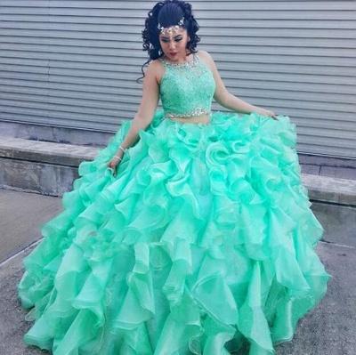 Fabuloso joya verde Listones vestido de fiesta XV Vestidos | Vestido de quinceañera sin mangas con volantes de encaje largos_1