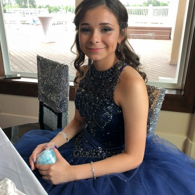 Attractive Ink Blue Jewel Beadings Sleeveless Sweet 16 Dresses | Ball Gown Quince Dresses Long_4