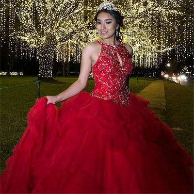 Fabulous Red Jewel Beadings Ball Gown XV Dresses | Sleeveless Quinceanera Dresses Long_3