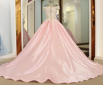 Off-the-Shoulder Sweetheart Appliques Quinceanera Dress_3