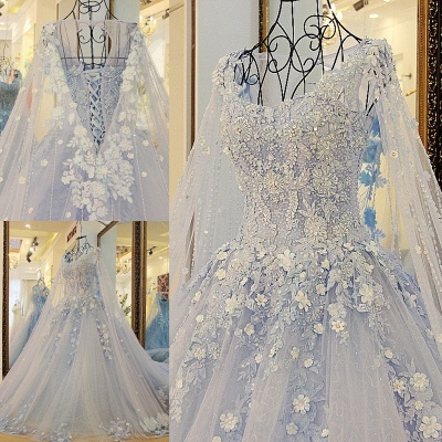 Stylish Straps Sleeveless Flowers Beadings Quinceanera Dress_1