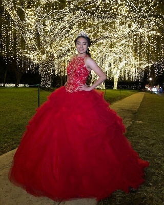 Fabulous Red Jewel Beadings Ball Gown XV Dresses | Sleeveless Quinceanera Dresses Long_2