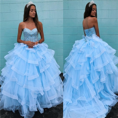 Marvelous Light Blue Beadings Ball Gown Sweet 16 Dresses | Tiered Quinceanera Dresses Long_1