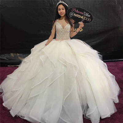 Fascinating V-neck Ball-Gown Beadings Quinceanera Dresses | Belted 15 Dresses Long_1
