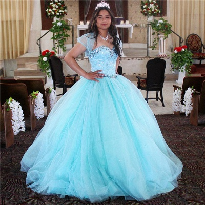 Exquisite Spaghetti Straps Beadings Ball Gown Sweet 16 Dresses | Detachable Jacket Quinceanera Dresses Long_1