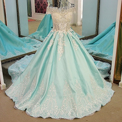 Appliqued Off-the-shoulder Long Ball Gown Quinceanera Dresses_2