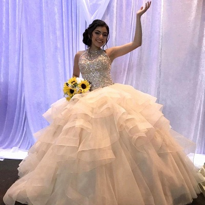 Wonderful Jewel Beadings Ball Gown 15 Dresses | Sleeveless Layered Quinceanera Dresses Long_1