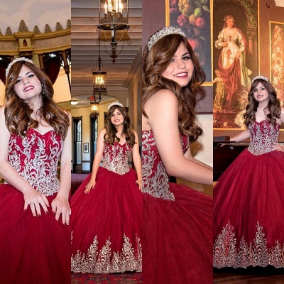 Beautiful Red Sweetheart Sleeveless Ball Gown Quinceanera Dresses | Appliques 16 Dresses Long_4