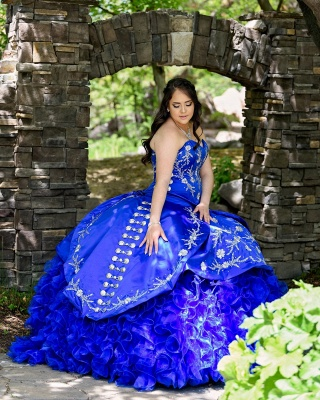 Unique Floral Appliqued Strapless Sweetheart Ruffles Tulle Royal Blue Quince Dresses_4