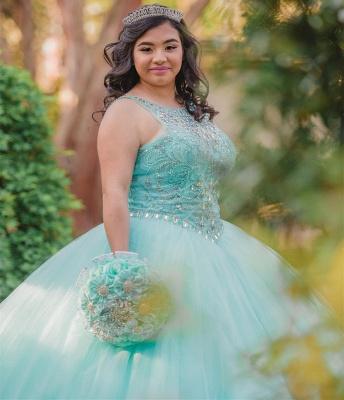 Ball Gown Jewel Sleeveless Beading Long Quinceanera Dress_4