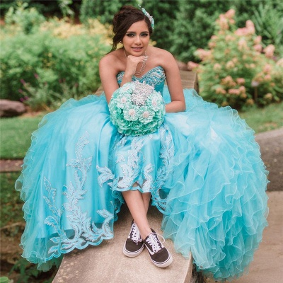 Blue Tulle Sweetheart Appliques Beading Quinceanera Dress_2