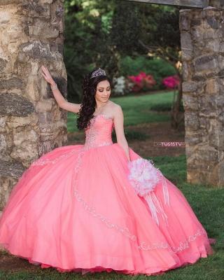 Vestido de fiesta de tul de novia sin mangas con abalorios vestido de quinceañera rosa_6