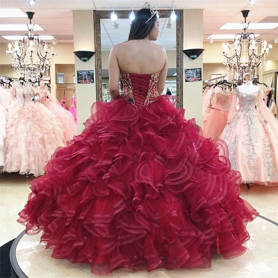 Layered Tulle Sweetheart Strapless Beading Quince Dresses_2