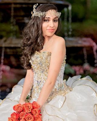 Vestido de fiesta sin tirantes abalorios volantes vestido de quinceañera_3